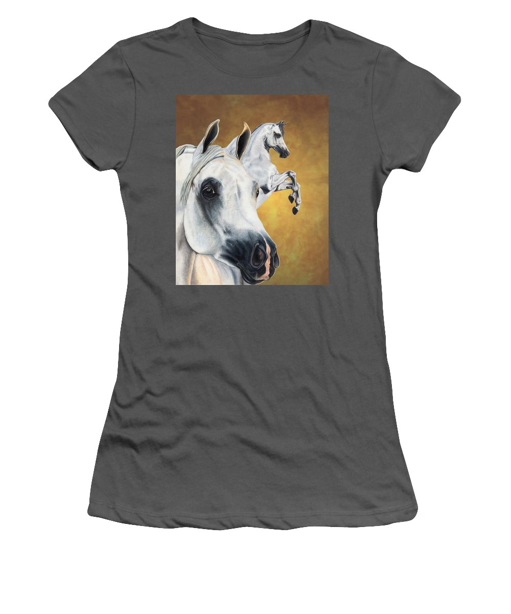 Horse Women's T-Shirt (Athletic Fit) featuring the drawing Inspiration by Kristen Wesch
