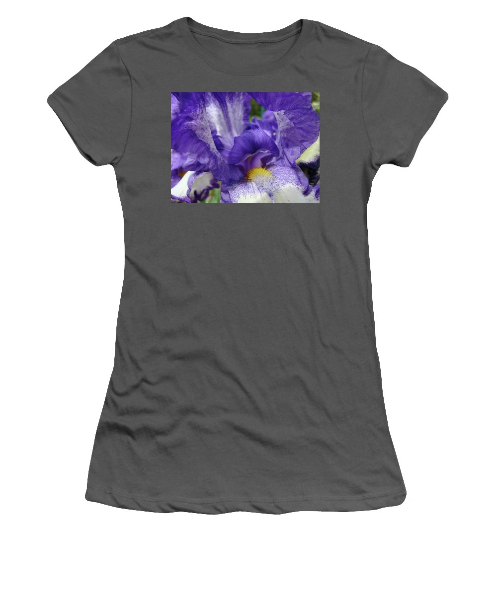 Iris Women's T-Shirt (Athletic Fit) featuring the photograph Irises Artwork Purple Iris Flowers Art Prints Canvas Baslee Troutman by Baslee Troutman