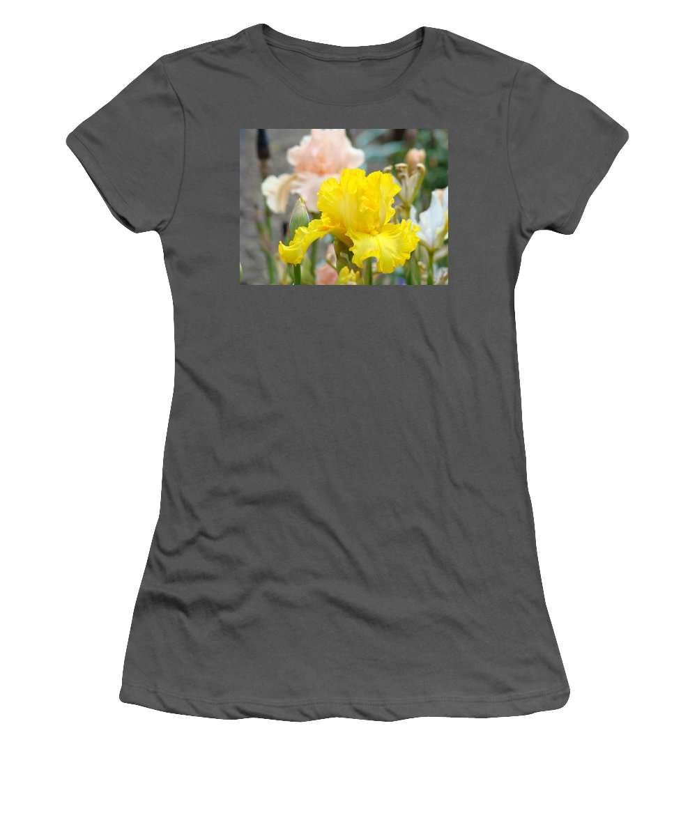 �irises Artwork� Women's T-Shirt (Athletic Fit) featuring the photograph Irises Botanical Garden Yellow Iris Flowers Giclee Art Prints Baslee Troutman by Baslee Troutman