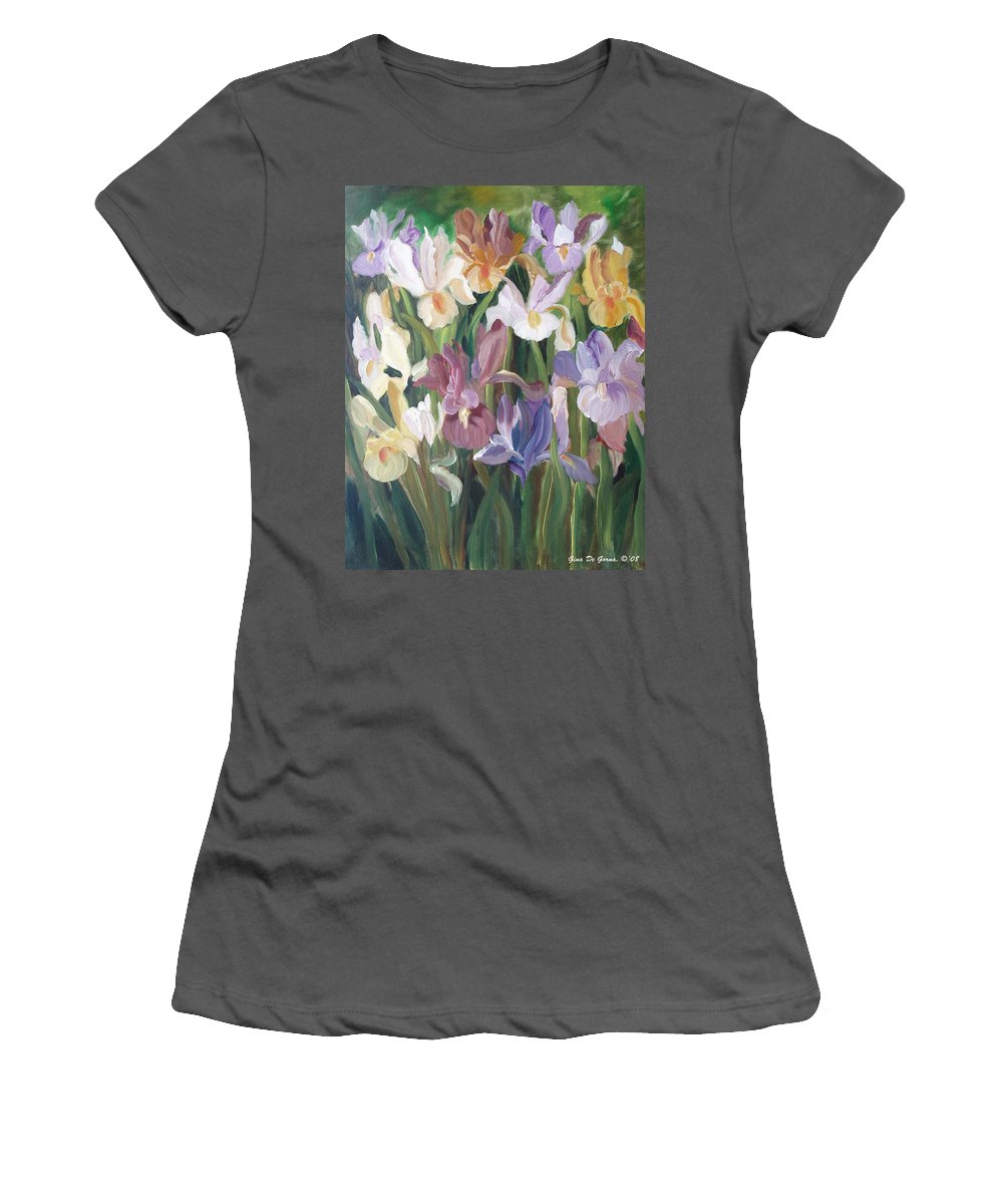 Irises Women's T-Shirt (Athletic Fit) featuring the painting Irises by Gina De Gorna