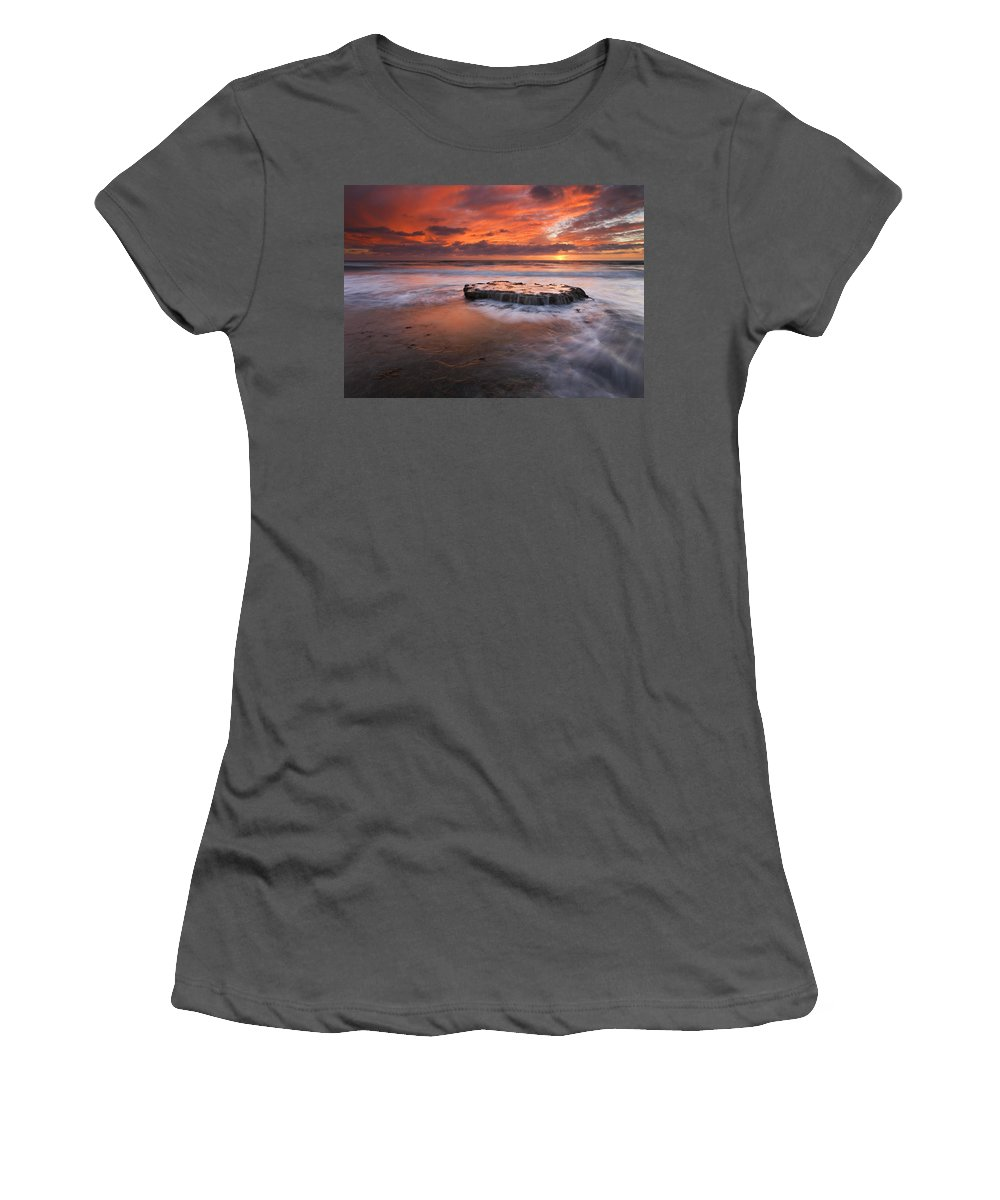 Island Women's T-Shirt (Athletic Fit) featuring the photograph Island In The Storm by Mike Dawson