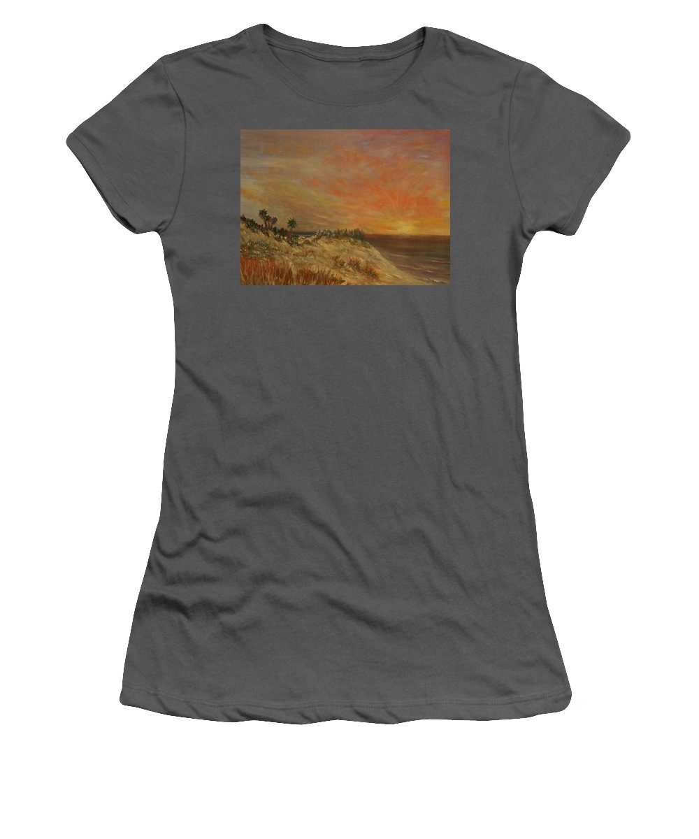 Sunset;beach;ocean;palm Trees Women's T-Shirt (Athletic Fit) featuring the painting Island Sunset by Ben Kiger
