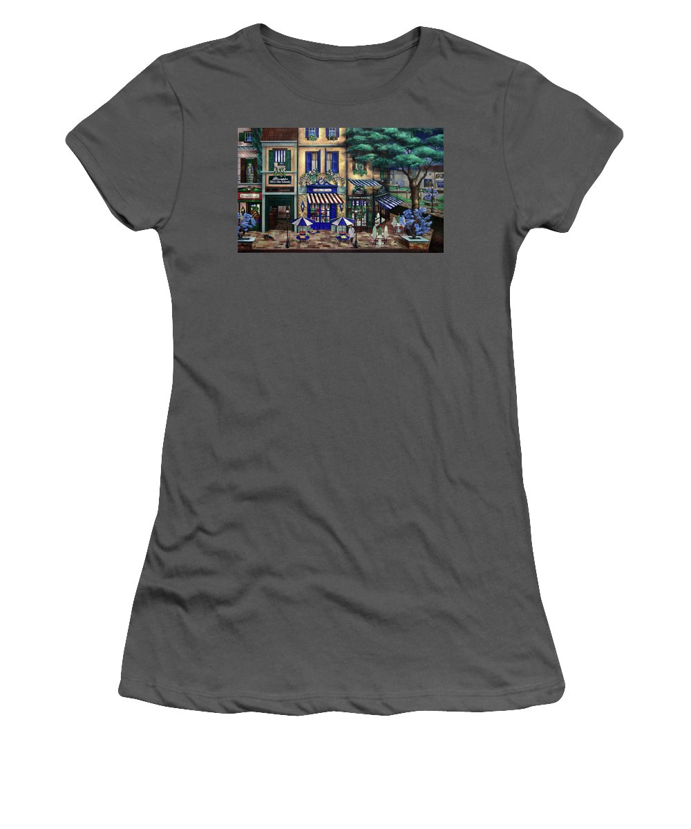 Italian Women's T-Shirt (Athletic Fit) featuring the mixed media Italian Cafe by Curtiss Shaffer