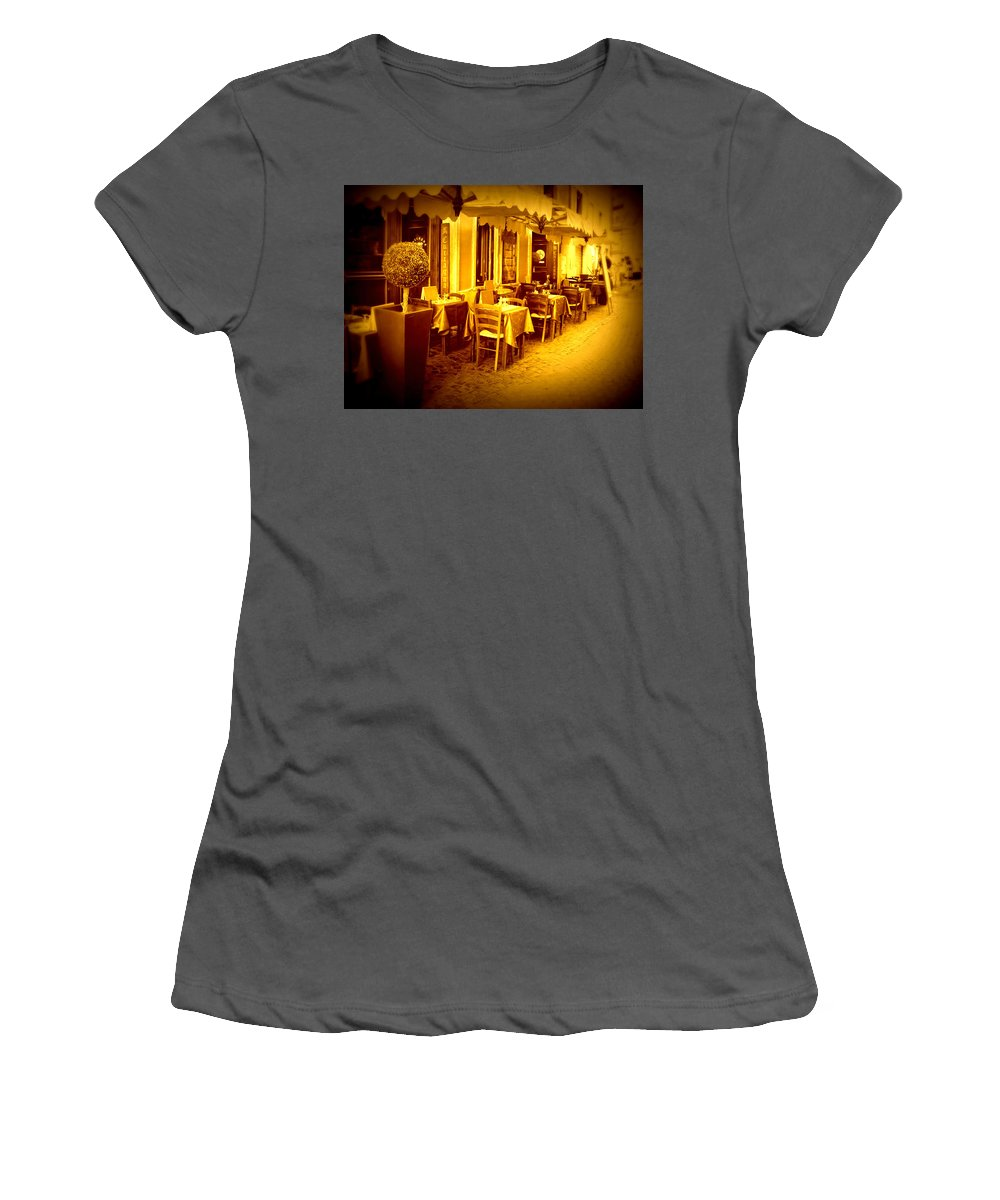 Italy Women's T-Shirt (Athletic Fit) featuring the photograph Italian Cafe In Golden Sepia by Carol Groenen
