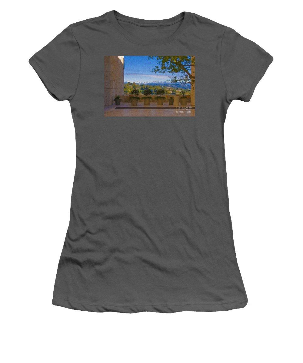 J Paul Getty Center Museum Terrace Women's T-Shirt (Athletic Fit) featuring the photograph J Paul Getty Center Museum Terrace by David Zanzinger