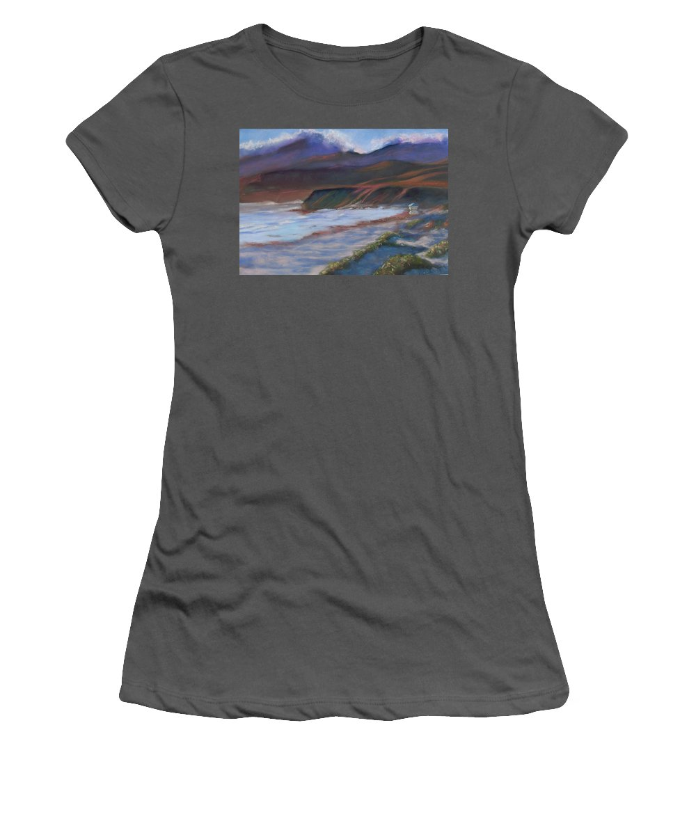 Jalama Beach. Women's T-Shirt (Athletic Fit) featuring the pastel Jalama Beach At Sunset by Laurie Paci