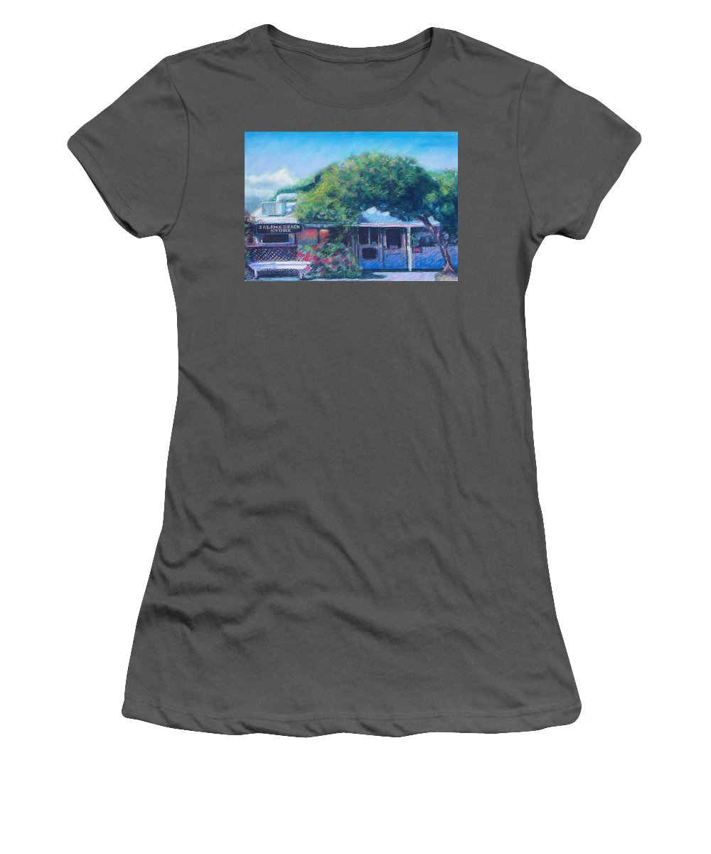 Jalama Beach Store Women's T-Shirt (Athletic Fit) featuring the pastel Jalama Beach Store by Laurie Paci