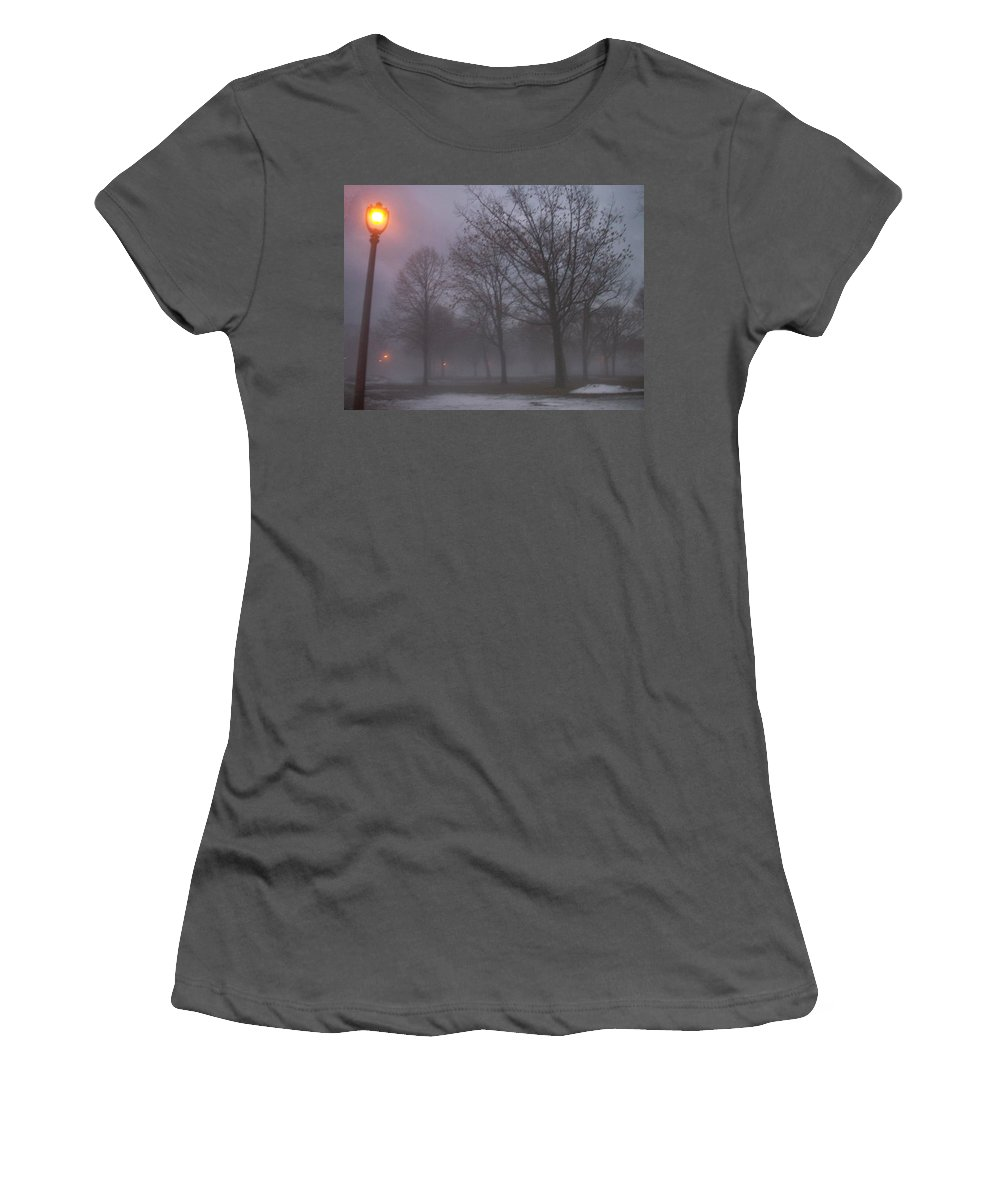January Women's T-Shirt (Athletic Fit) featuring the photograph January Fog 3 by Anita Burgermeister