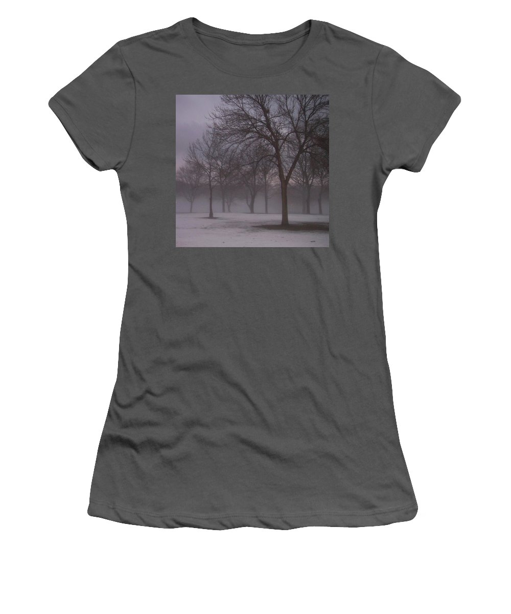 January Women's T-Shirt (Athletic Fit) featuring the photograph January Fog 4 by Anita Burgermeister