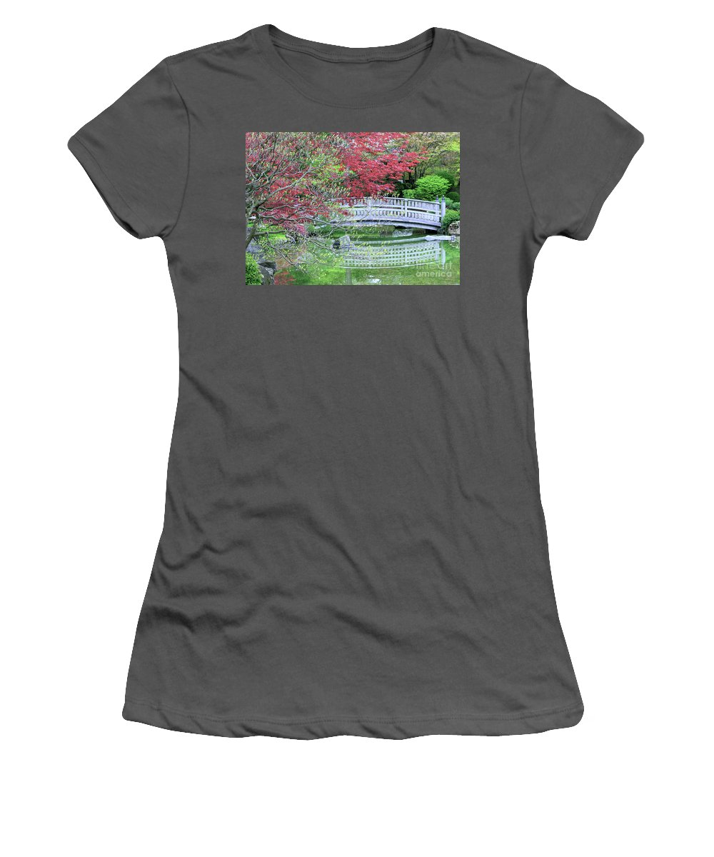 Landscape Women's T-Shirt (Athletic Fit) featuring the photograph Japanese Garden Bridge In Springtime by Carol Groenen