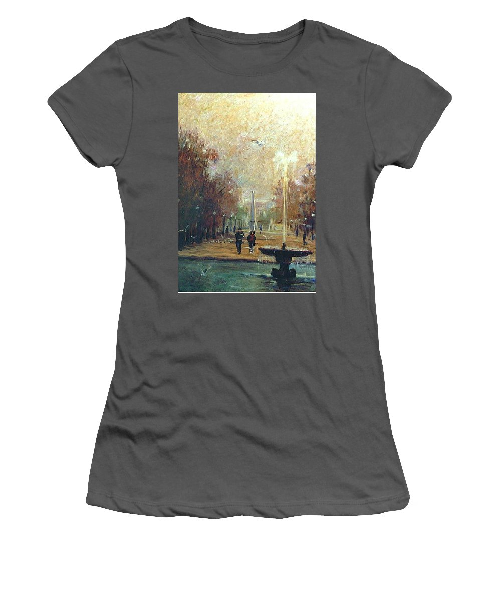 Garden Women's T-Shirt (Athletic Fit) featuring the painting Jardin Des Tuileries by Walter Casaravilla