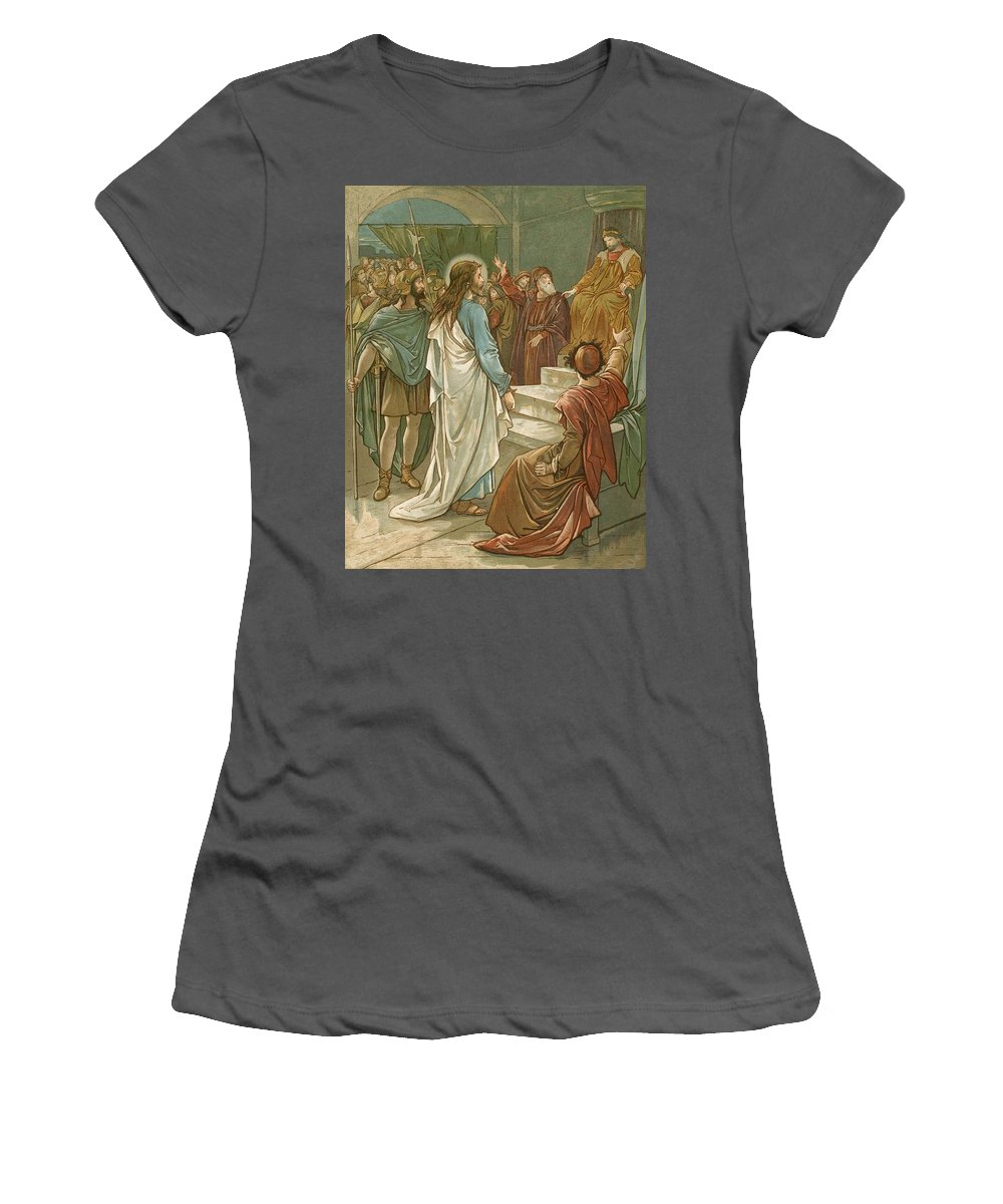 Bible; Jesus Christ; Pontius Pilate; Trial; Soldiers; Romans Women's T-Shirt (Athletic Fit) featuring the painting Jesus In Front Of Pilate by John Lawson
