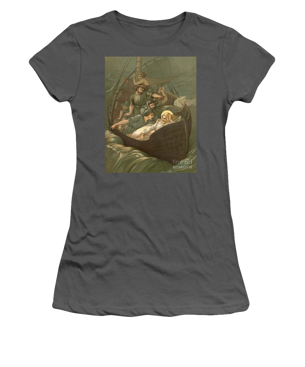 Bible; Jesus Christ; Sleeping; Rest; Storm; Boat; Sea Of Galilee; Big Waves Women's T-Shirt (Athletic Fit) featuring the painting Jesus Sleeping During The Storm by John Lawson