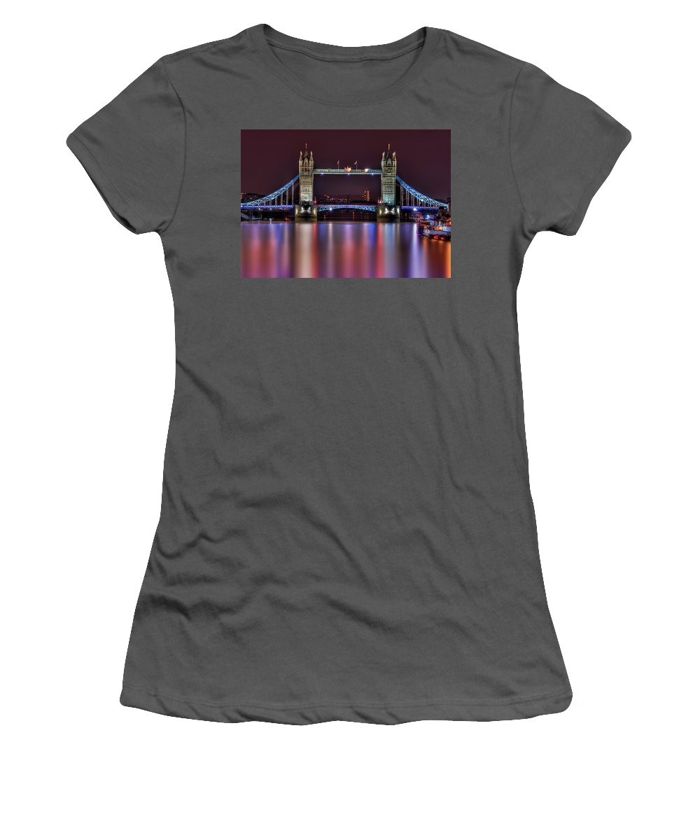 Tower Bridge Women's T-Shirt (Athletic Fit) featuring the photograph Jewel Of The Night by Evelina Kremsdorf