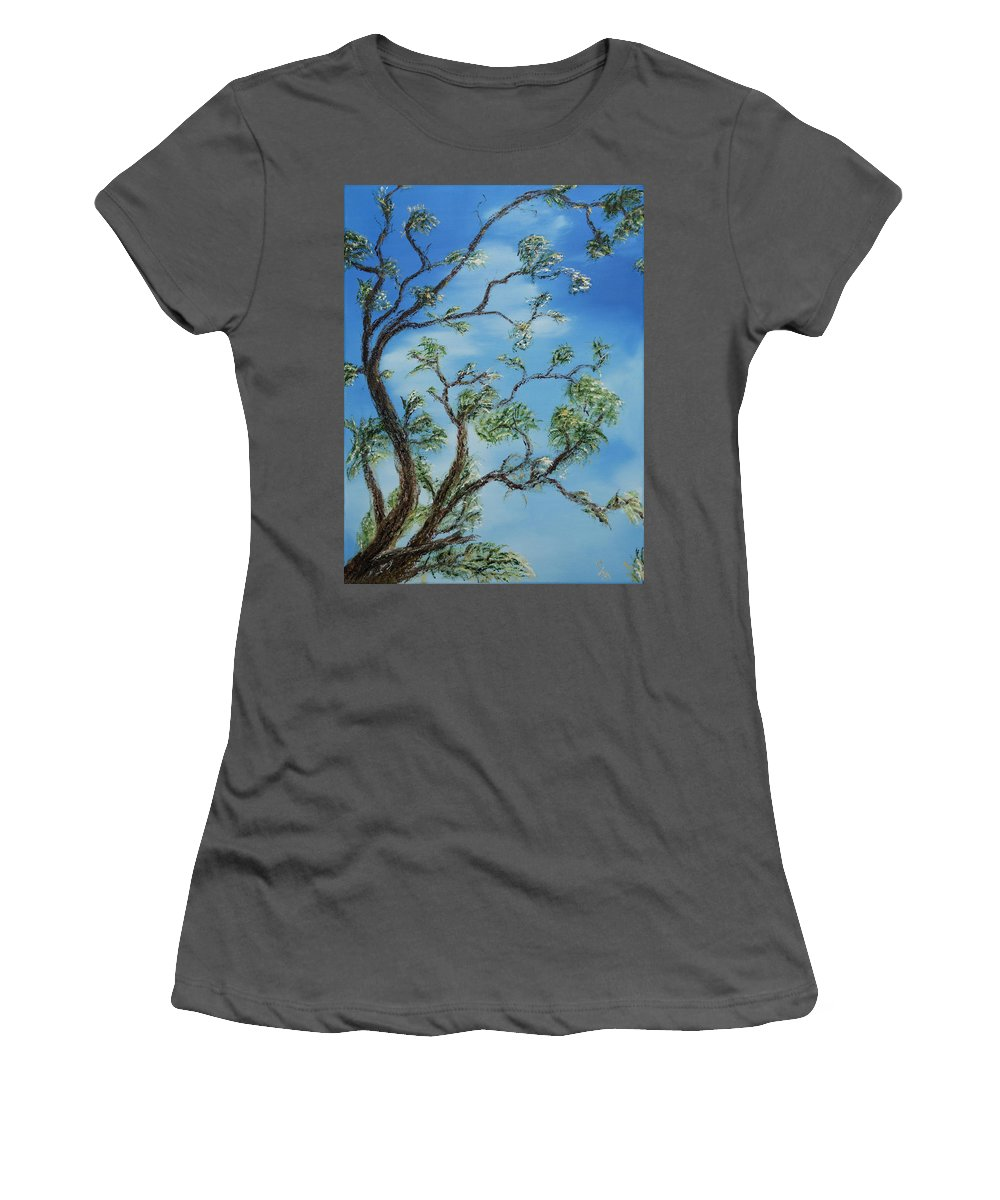 Stephen Daddona Women's T-Shirt (Athletic Fit) featuring the painting Jim's Tree by Stephen Daddona