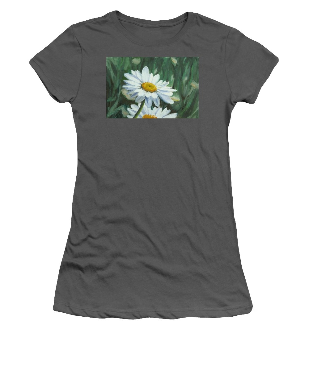 Daisy Women's T-Shirt (Athletic Fit) featuring the painting Joe's Daisies by Lea Novak