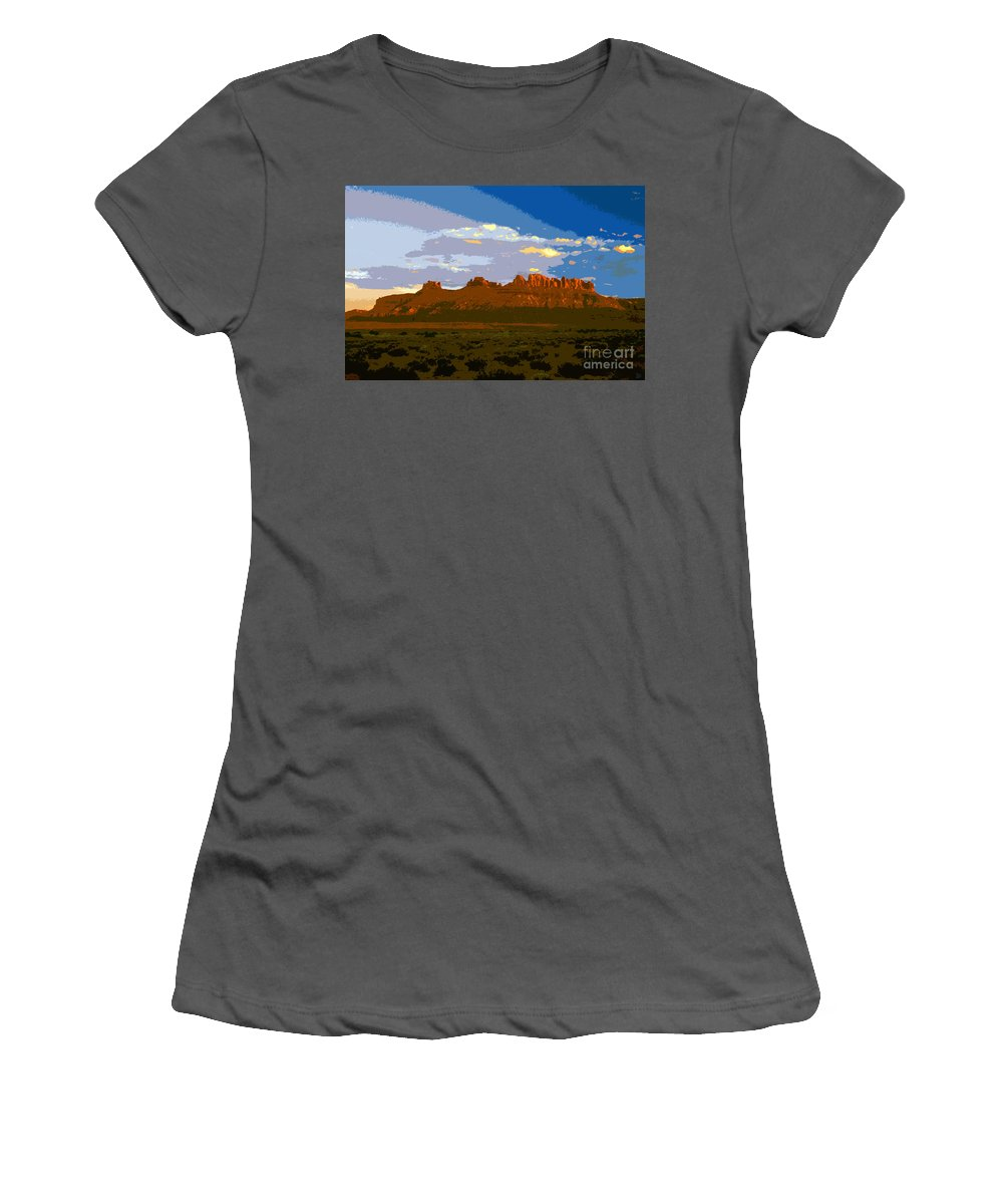 Landscape Women's T-Shirt (Athletic Fit) featuring the painting John Wayne Country by David Lee Thompson