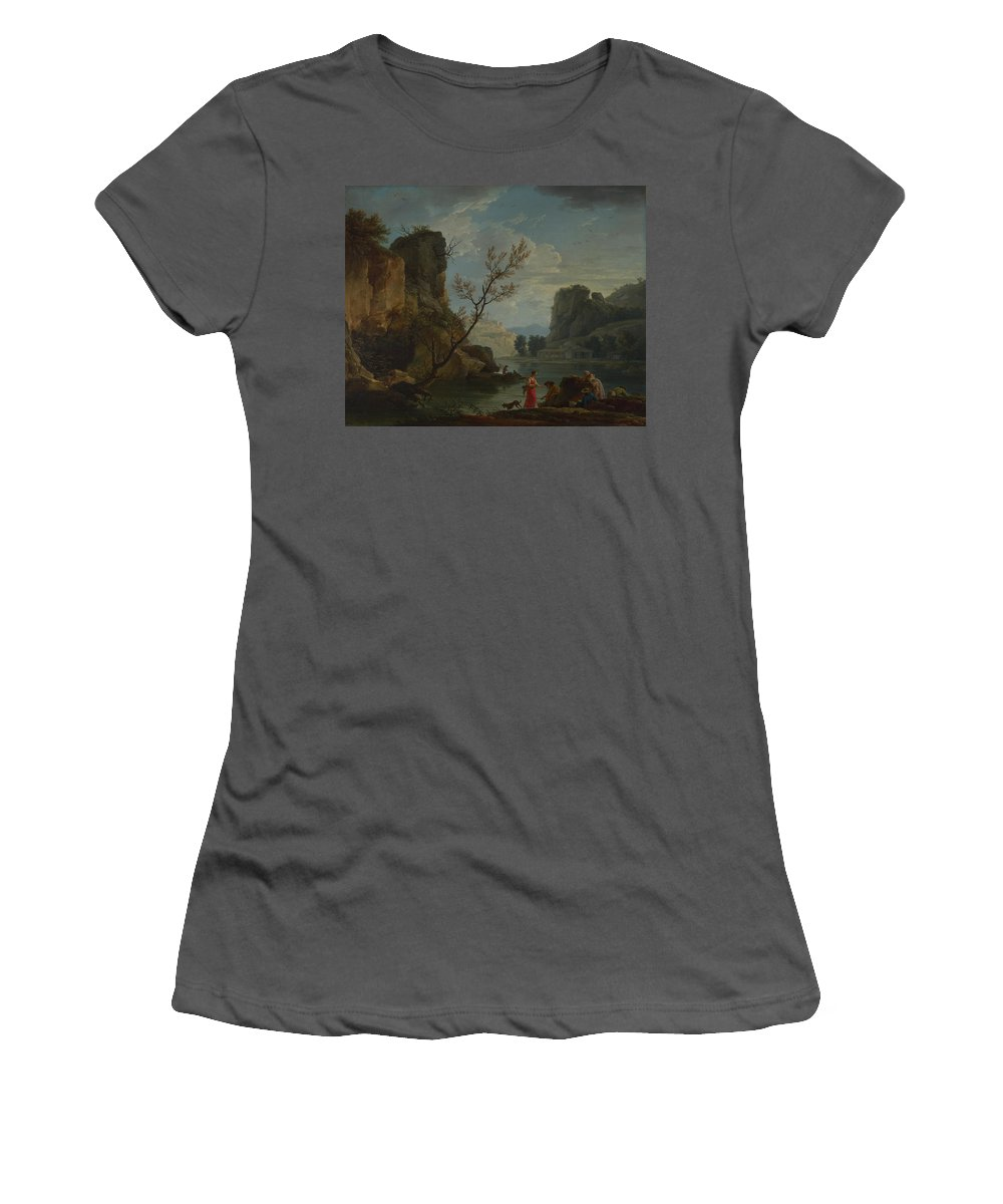 Claude Women's T-Shirt (Athletic Fit) featuring the digital art Joseph Vernet  A River With Fishermen by PixBreak Art