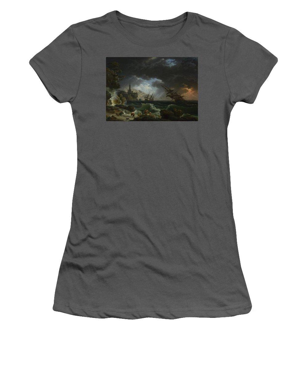 Claude Women's T-Shirt (Athletic Fit) featuring the digital art Joseph Vernet  A Shipwreck In Stormy Seas by PixBreak Art