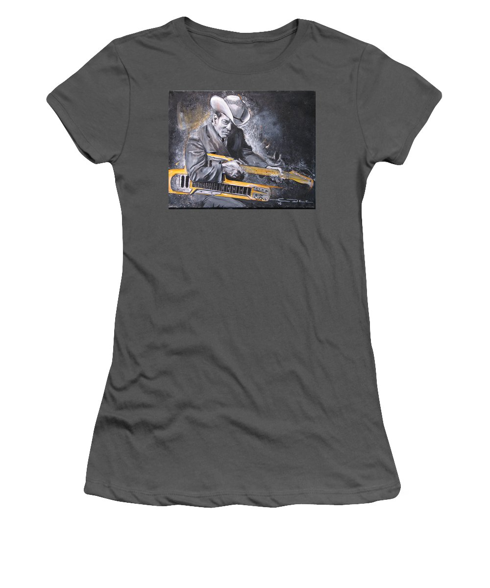 Jr. Brown Women's T-Shirt (Athletic Fit) featuring the painting Jr. Brown by Eric Dee