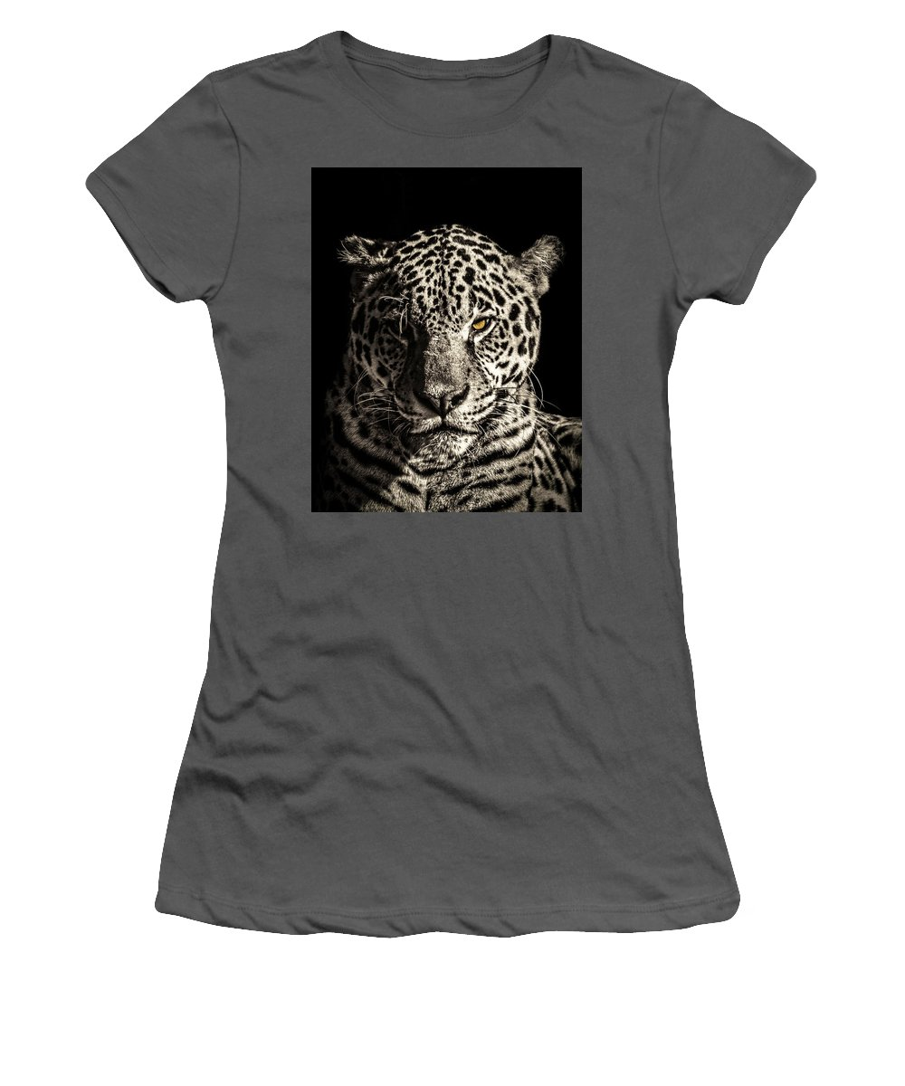 Jaguar Women's T-Shirt (Athletic Fit) featuring the photograph Judge, Jury And Executioner by Cheryl Frischkorn