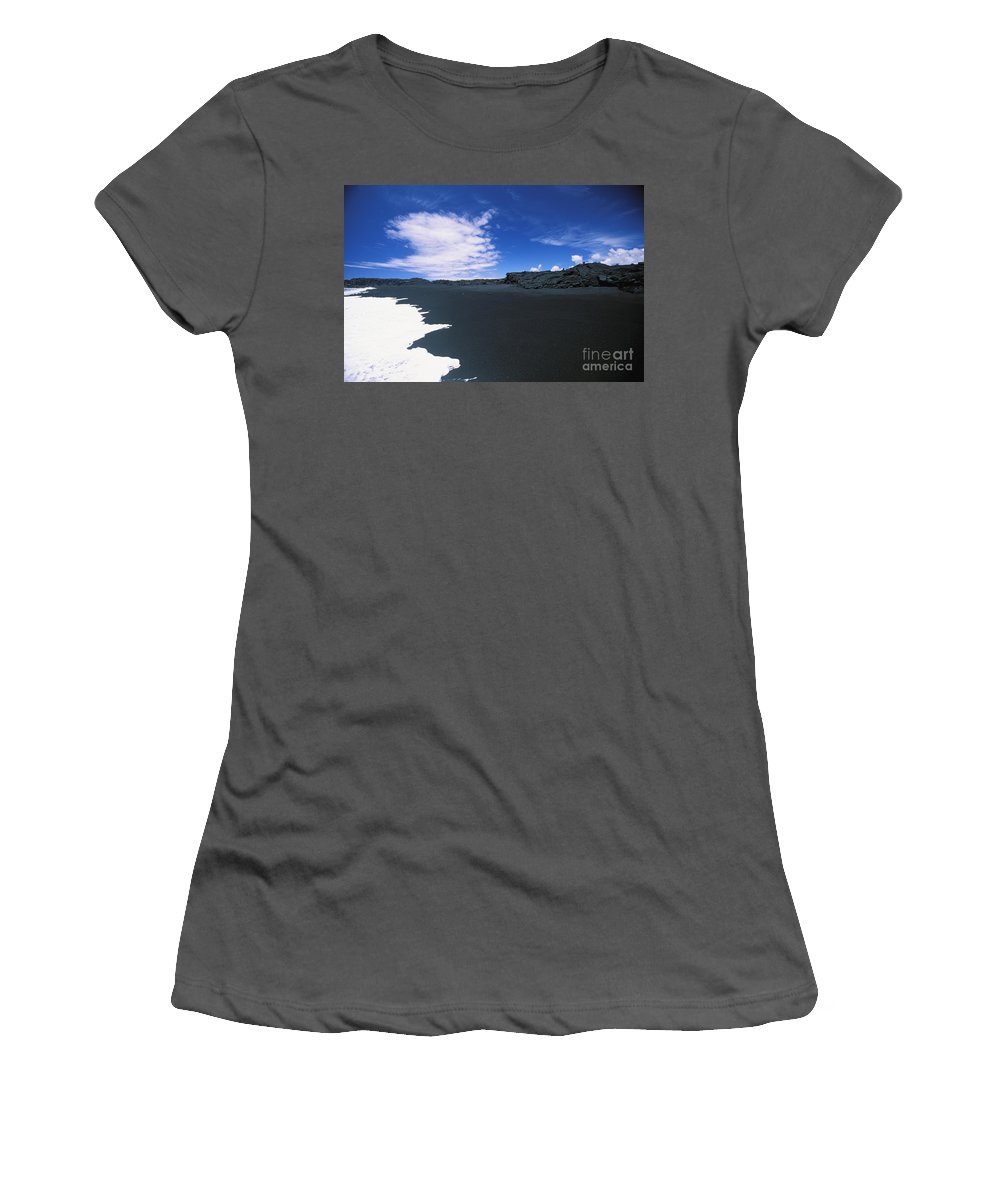 Beach Art Women's T-Shirt (Athletic Fit) featuring the photograph Kalapana Black Sand by Ron Dahlquist - Printscapes