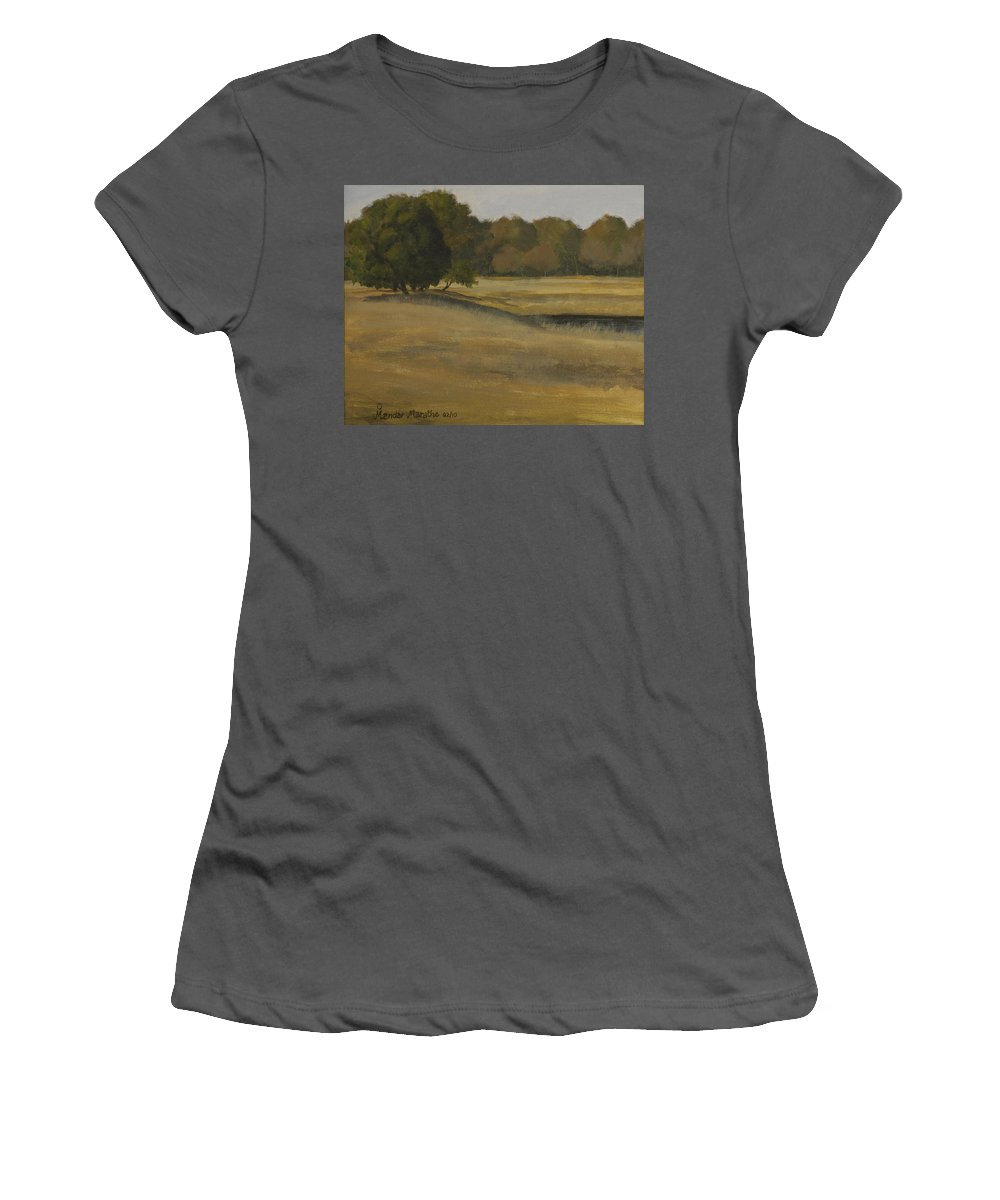 Landscape Women's T-Shirt (Athletic Fit) featuring the painting Kanha Meadows by Mandar Marathe