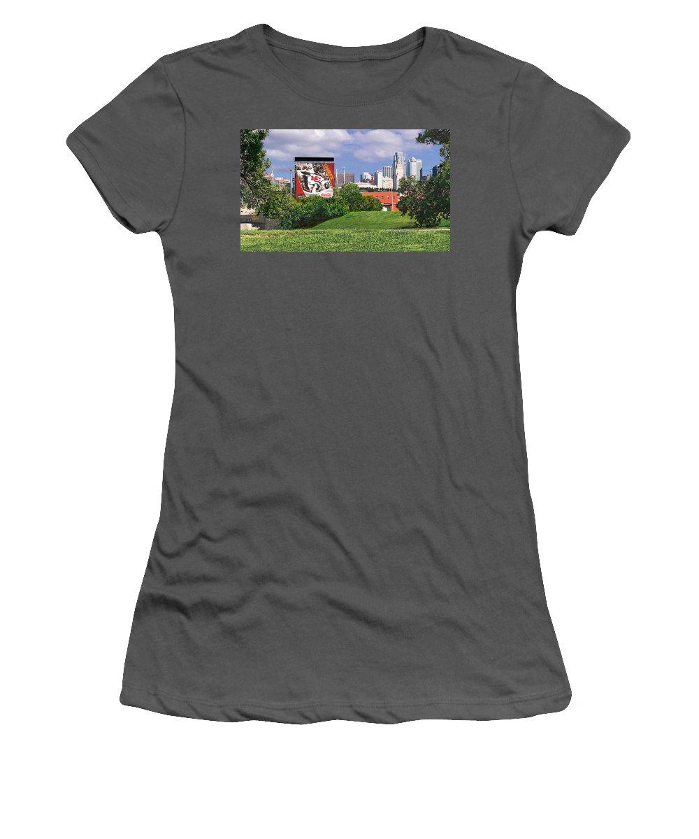 Landscape Women's T-Shirt (Athletic Fit) featuring the photograph Kansas City Sky Line by Steve Karol