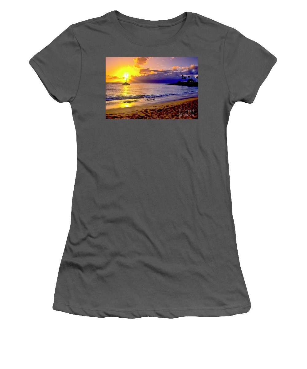 Scenics Women's T-Shirt (Athletic Fit) featuring the photograph Kapalua Bay Sunset by Jim Cazel