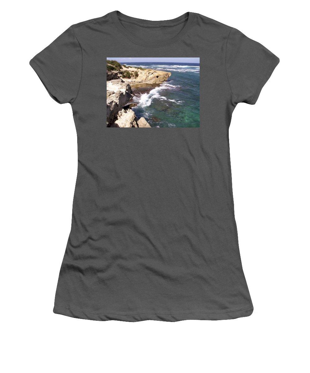 Kauai Women's T-Shirt (Athletic Fit) featuring the photograph Kauai Coast With Shark Outcrop by Amy Fose