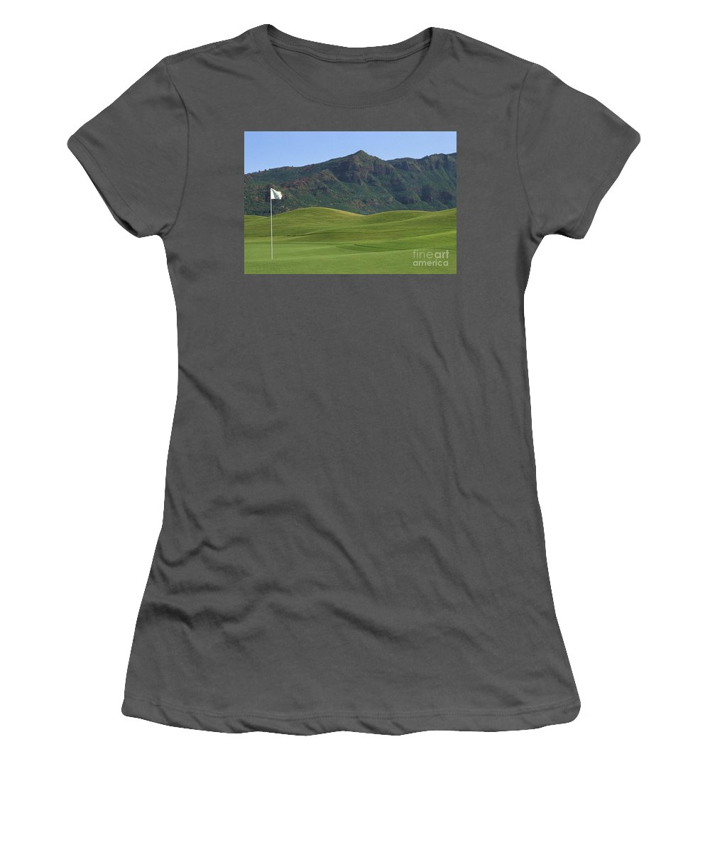 Blue Women's T-Shirt (Athletic Fit) featuring the photograph Kauai Marriott Golf Cours by William Waterfall - Printscapes