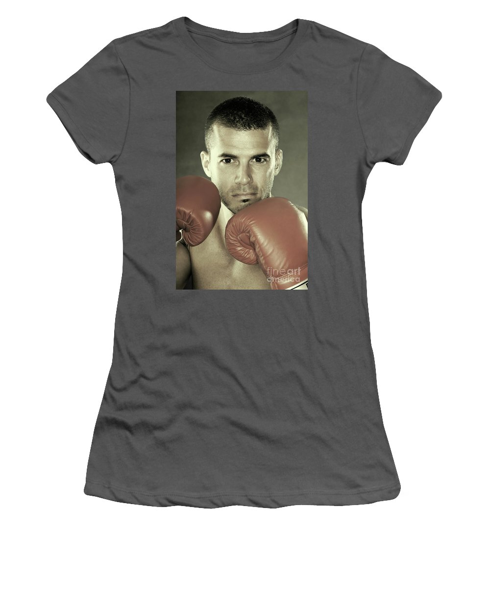 Kickboxer Women's T-Shirt (Athletic Fit) featuring the photograph Kickboxer by Oleksiy Maksymenko