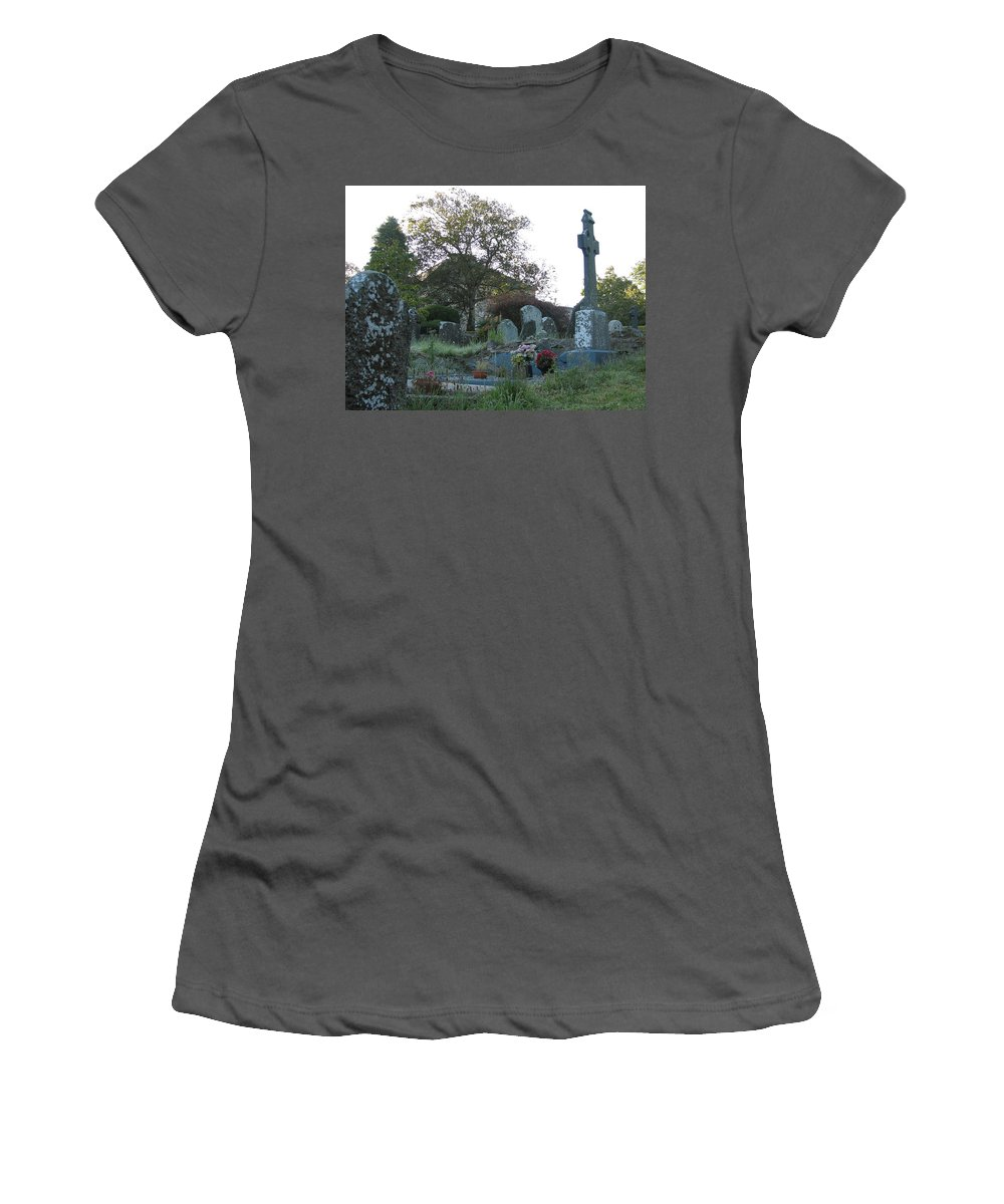 Graveyard Women's T-Shirt (Athletic Fit) featuring the photograph Kilmokea Graveyard by Kelly Mezzapelle