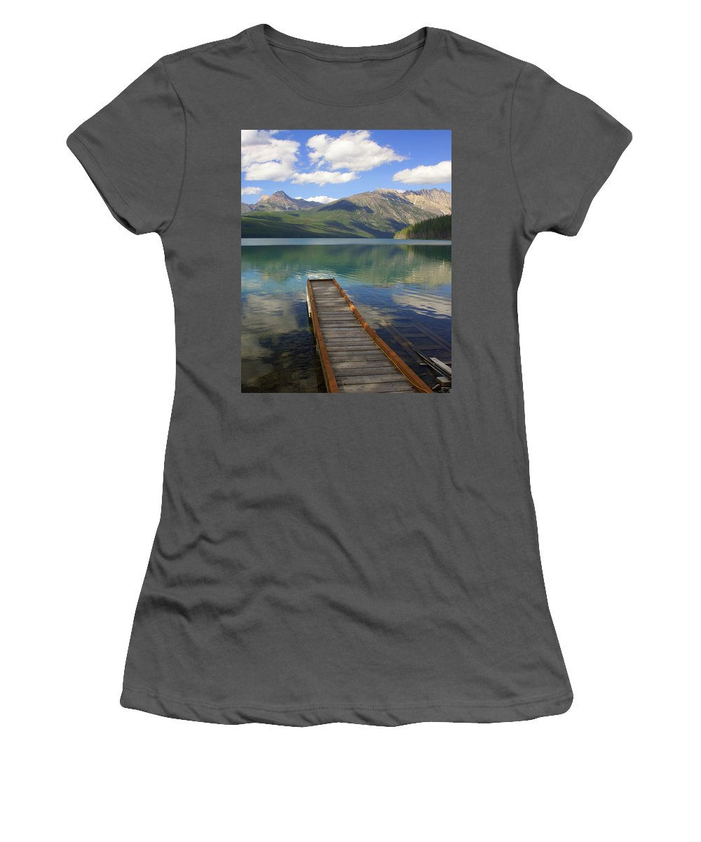 Glacier National Park Women's T-Shirt (Athletic Fit) featuring the photograph Kintla Lake Dock by Marty Koch