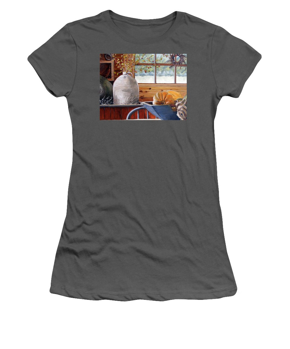 Kitchen Women's T-Shirt (Athletic Fit) featuring the painting Kitchen Scene by Richard T Pranke