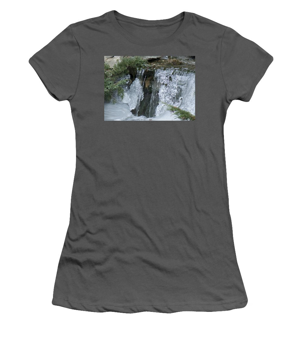 Koi Pond Women's T-Shirt (Athletic Fit) featuring the photograph Koi Pond Waterfall by Steven Natanson