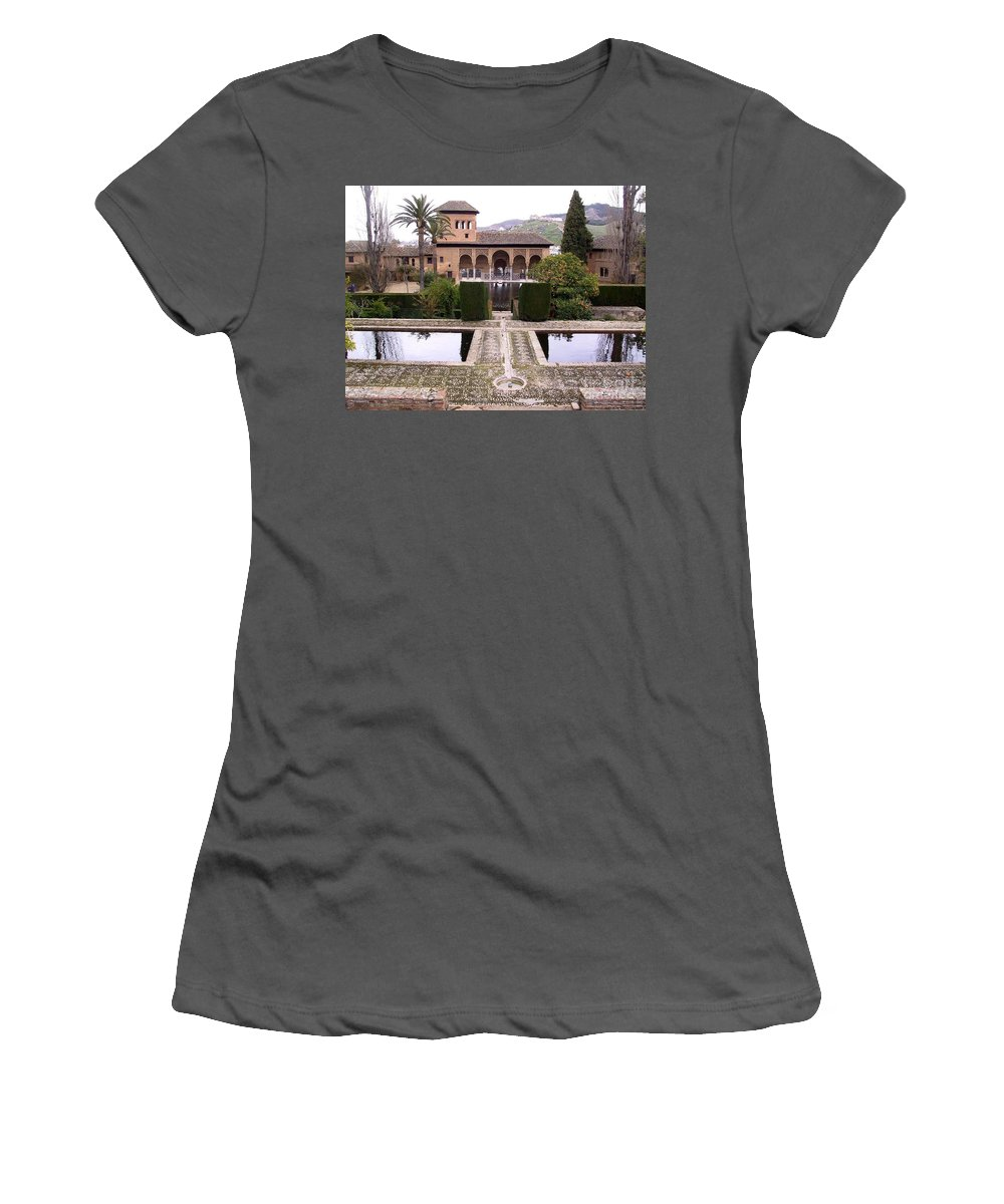 Alhambra Women's T-Shirt (Athletic Fit) featuring the photograph La Alhambra Garden by Thomas Marchessault