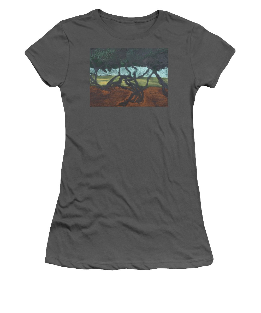 Contemporary Tree Landscape Women's T-Shirt (Athletic Fit) featuring the mixed media La Jolla II by Leah Tomaino