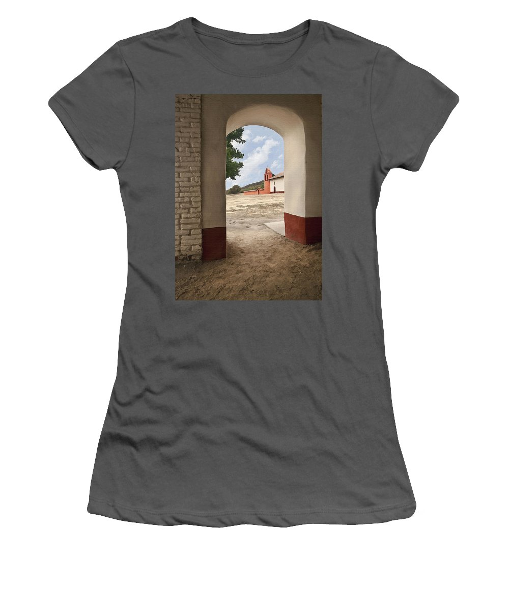 Mission Women's T-Shirt (Athletic Fit) featuring the digital art La Purisima Arch by Sharon Foster
