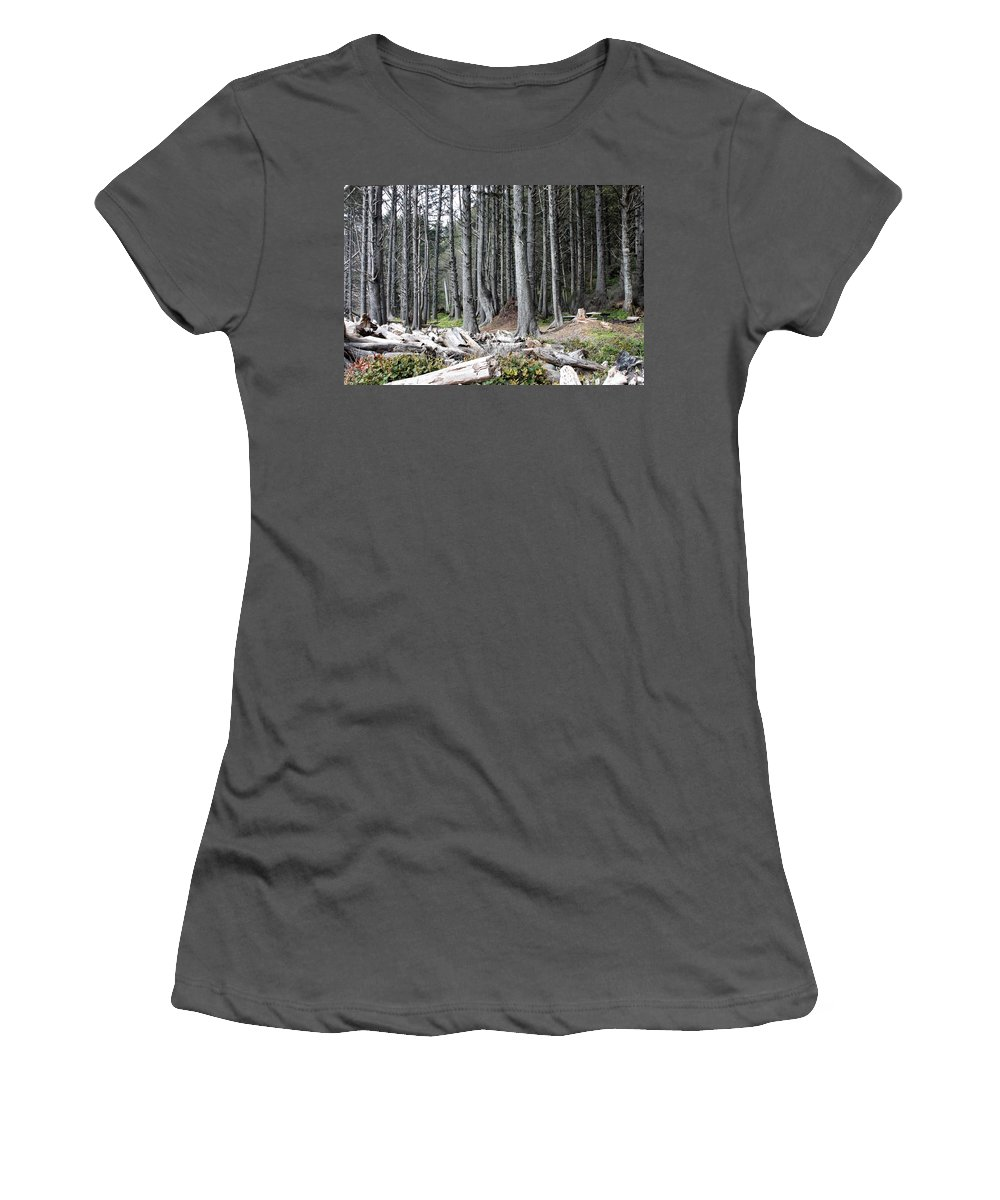 Wolf Legends Women's T-Shirt (Athletic Fit) featuring the photograph La Push Beach Trees by Carol Groenen