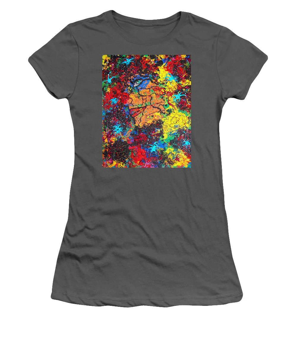 Woman Women's T-Shirt (Athletic Fit) featuring the painting Lady Of Mystery by Natalie Holland
