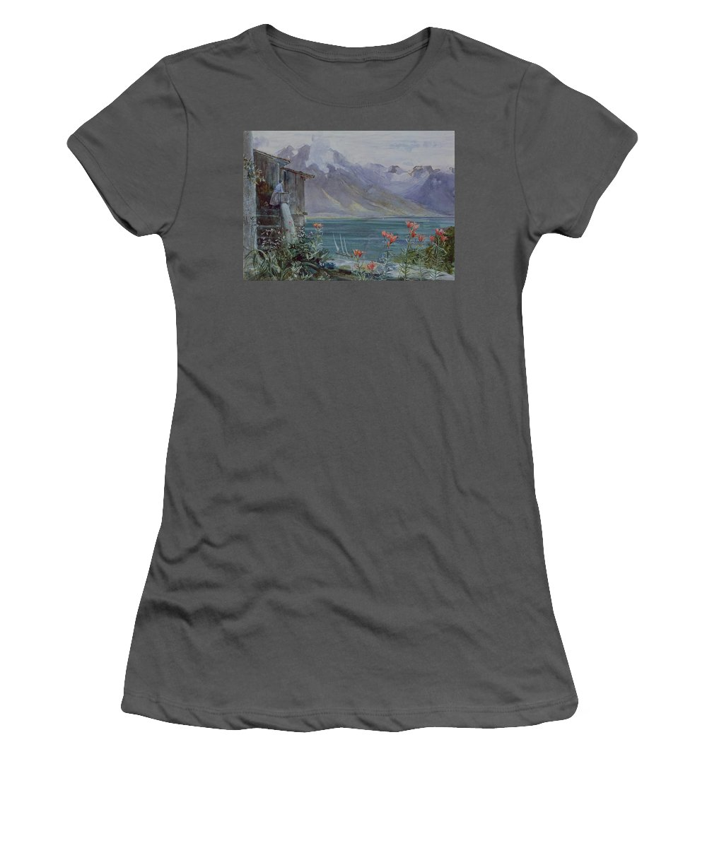 Ferritet Women's T-Shirt (Athletic Fit) featuring the painting Lake Geneva by John William Inchbold