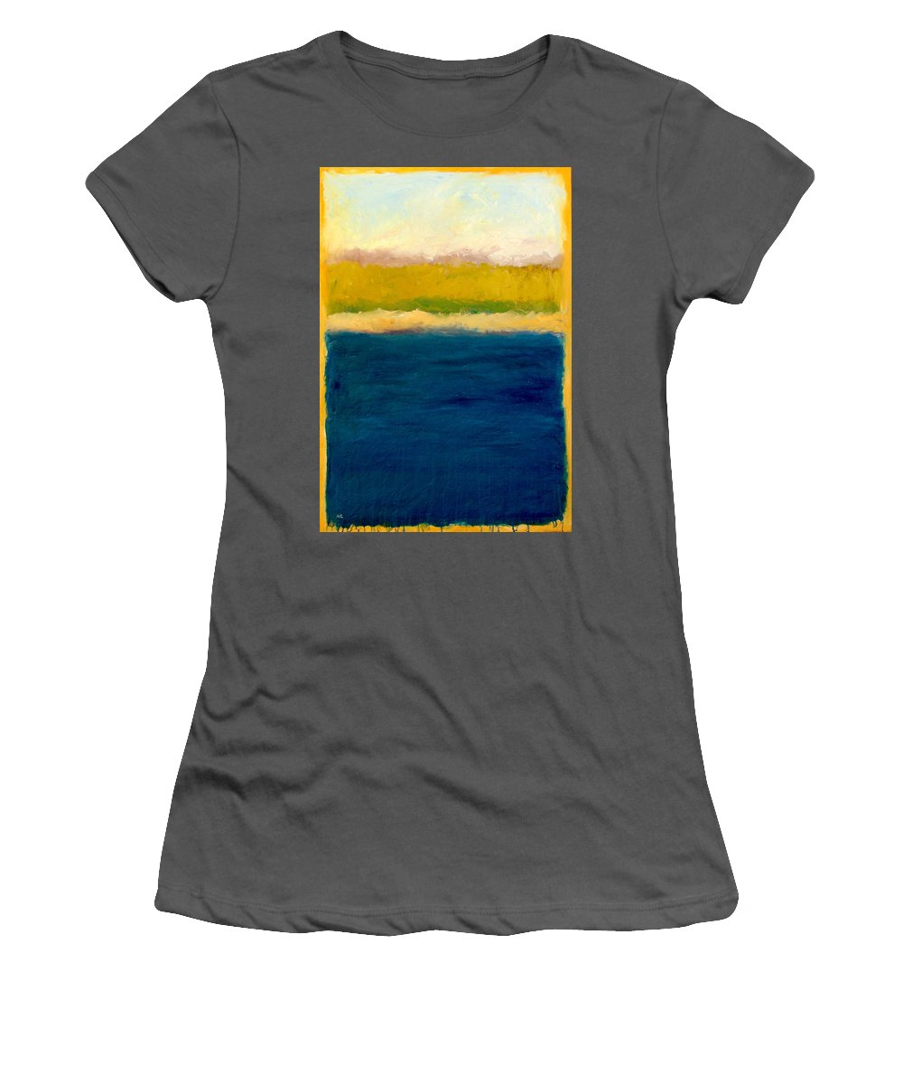 Dunes Women's T-Shirt (Athletic Fit) featuring the painting Lake Michigan Beach Abstracted by Michelle Calkins