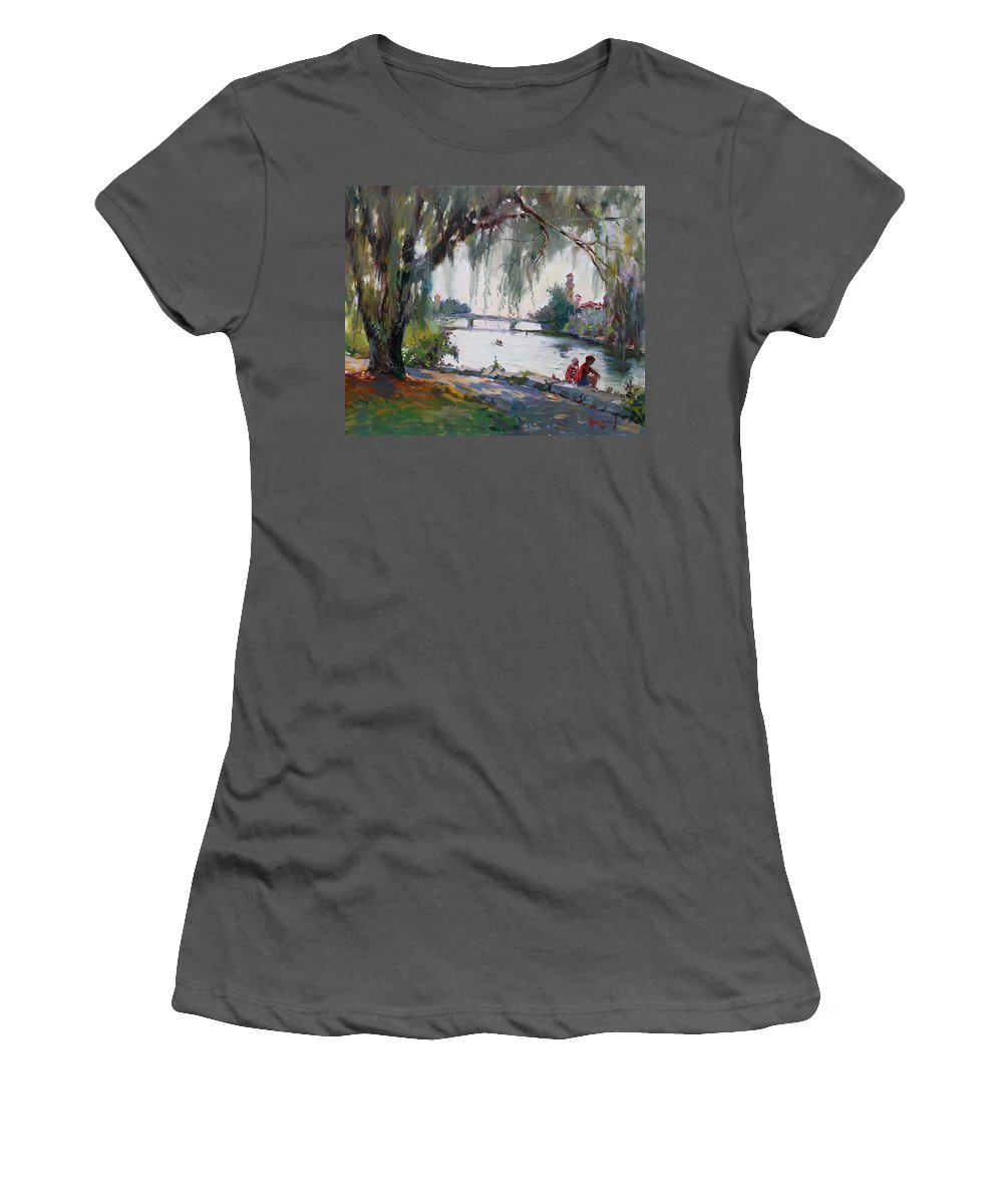 Lake Women's T-Shirt (Athletic Fit) featuring the painting Lake Shore Mississauga by Ylli Haruni