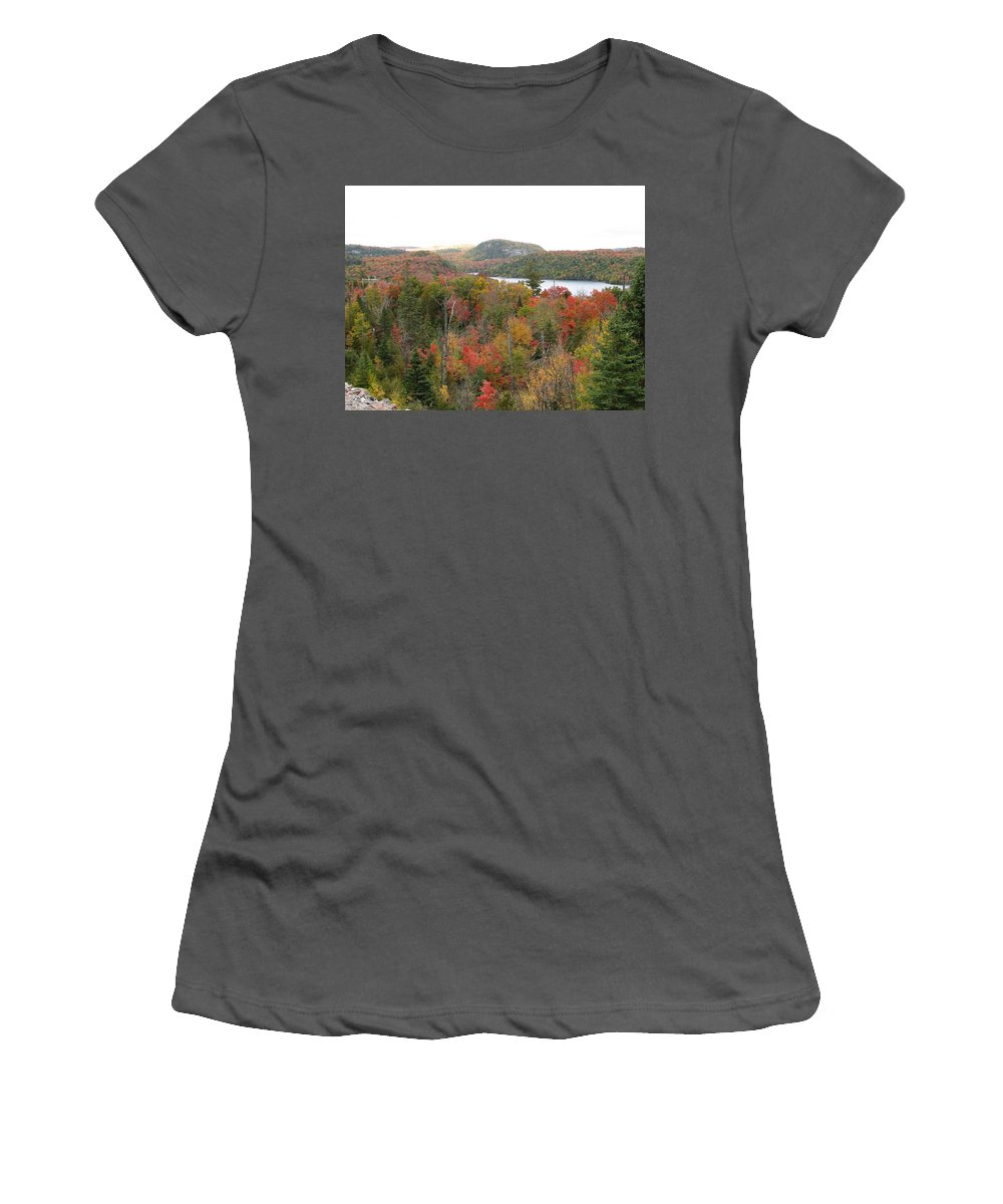 Fall Women's T-Shirt (Athletic Fit) featuring the photograph Lakeside by Kelly Mezzapelle