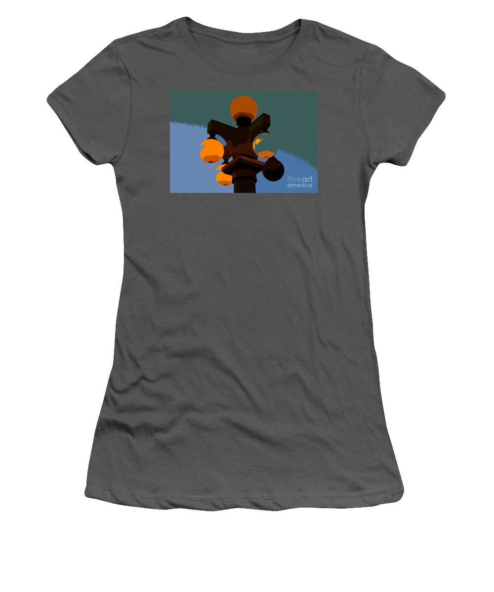 Lamppost Women's T-Shirt (Athletic Fit) featuring the painting Lamppost by David Lee Thompson