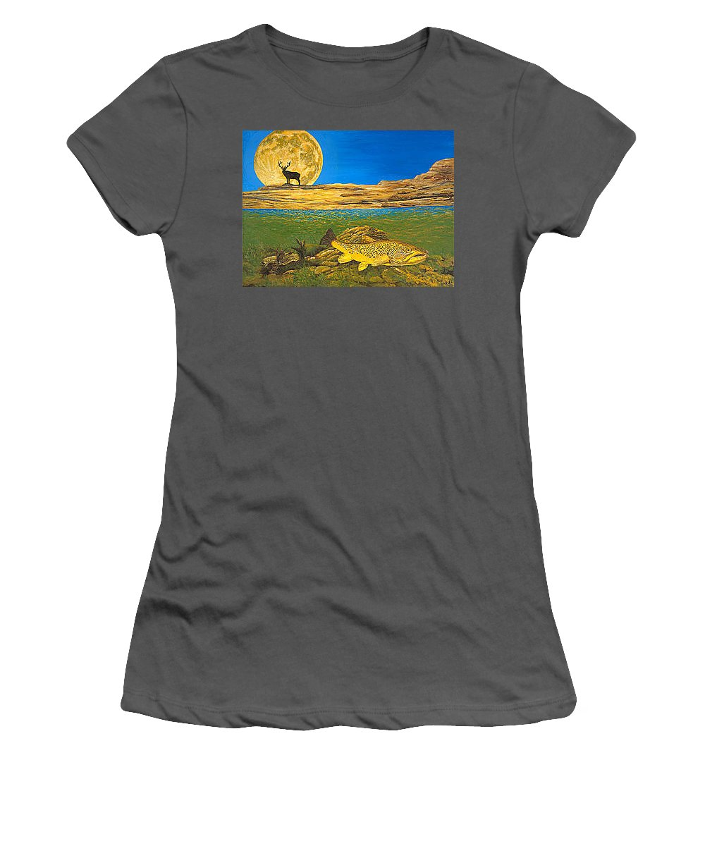 Artwork Women's T-Shirt (Athletic Fit) featuring the painting Landscape Art Fish Art Brown Trout Timing Bull Elk Full Moon Nature Contemporary Modern Decor by Baslee Troutman