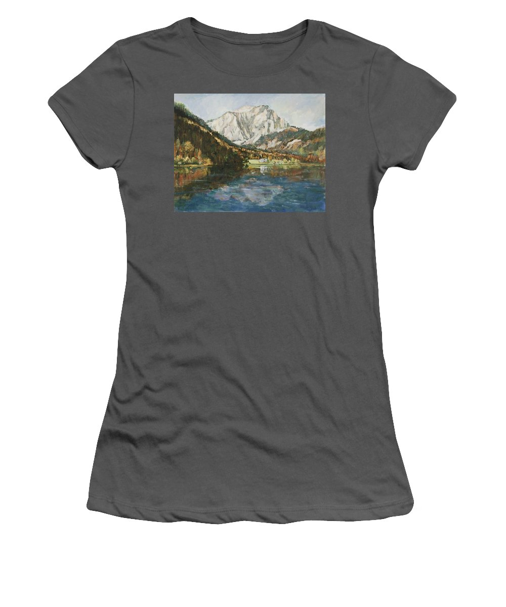 Landscape Women's T-Shirt (Athletic Fit) featuring the painting Langbathsee Austria by Alexandra Maria Ethlyn Cheshire