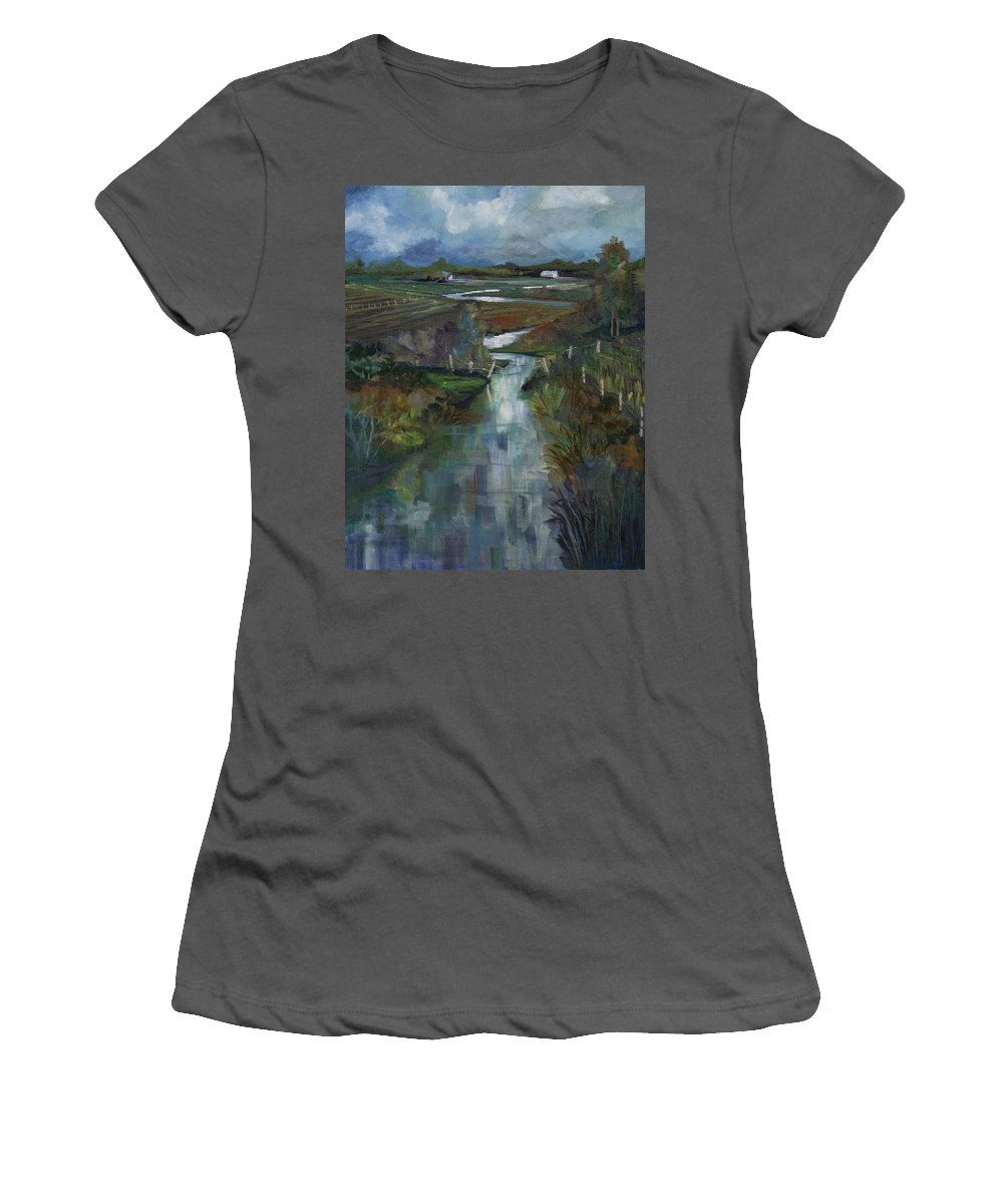 River Women's T-Shirt (Athletic Fit) featuring the painting Laramie River Valley by Heather Coen