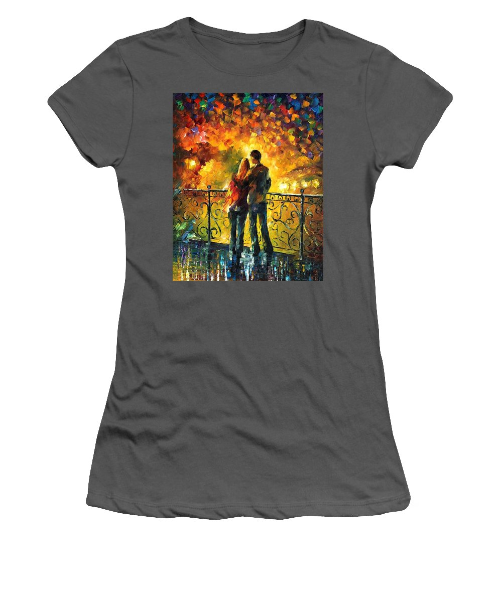 Afremov Women's T-Shirt (Athletic Fit) featuring the painting Last Date by Leonid Afremov